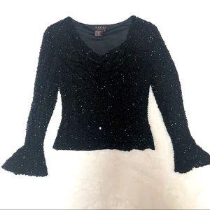 🖤NWOT🖤 100% Silk Marina Bresler Black Sequin Top